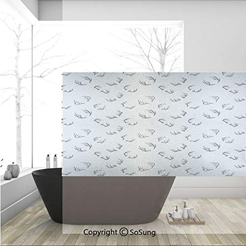 3D Decorative Privacy Window Films,Deer Horns Pattern Barbed Bone Winter Modern Simple Minimalistic Artwork,No-Glue Self Static Cling Glass Film for Home Bedroom Bathroom Kitchen Office 36x24 Inch ()