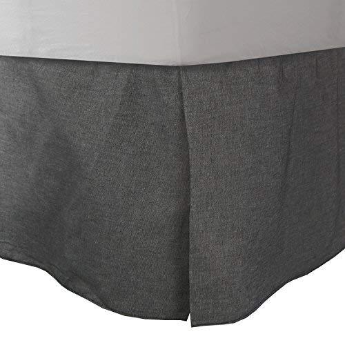 Dan River Bedskirt - Black Denim Queen Bed Dust Ruffle Jean Pleaded Bedskirt Bedding Accessory
