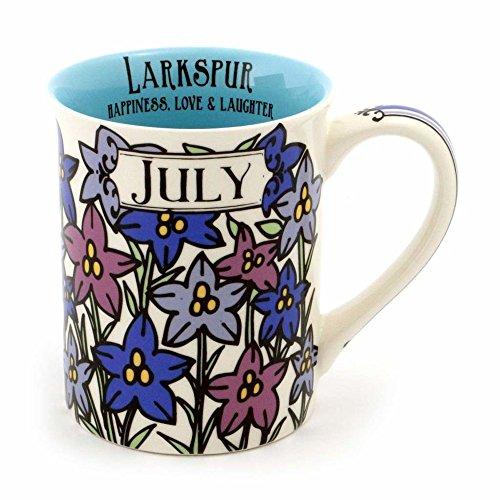 "Enesco 6000058 Our Name Is Mud ""July Birthday Flower"" Stoneware Coffee Mug, 16 oz, Purple (Mug Enesco)"