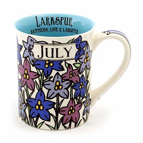 """Enesco 6000058 Our Name Is Mud """"July Birthday Flower"""" Stoneware Coffee Mug, 16 oz, Purple (Enesco Mug)"""