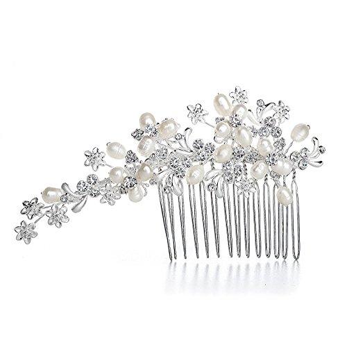 Mariell Austrian Crystal (Mariell Crystal & Genuine Freshwater Pearl Wedding Hair Comb Silver Headpiece Bridal Hair Accessory)