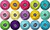 Crochet Thread Yarns-Size 5 Crochet thread-100% Contton Yarn for Begingers Knitting Crochet DIY Hardanger Cross Sitch Crochet Thread Balls Rainbow 15 Colors