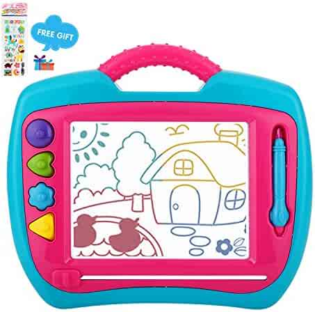 Peradix Doodle Magnetic Drawing Board Sketch Scribble Tablet Education Writing Drawing Painting Colorful Erasable Learning Toy for Toddler Kids (Blue&Pink)