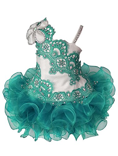 SweetFaterk Infant Girls' Lace Appliques Tutu Gowns Baby Pageant Cupcake Dress 6M Green