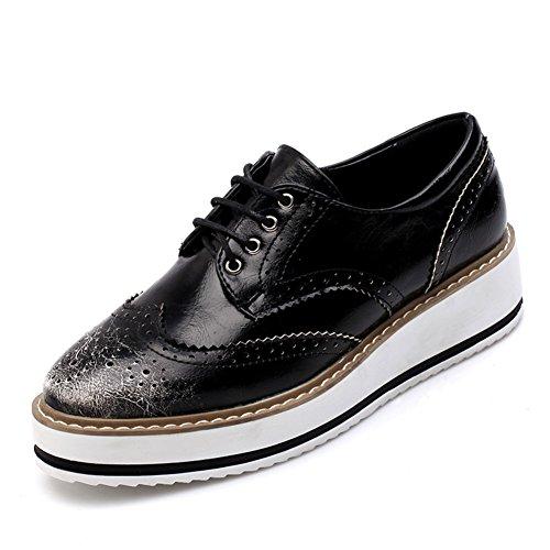 2016Inglaterra Zapatos/zapatos/frotación de color retro zapatos de plataforma de cabeza cuadrada/zapatos de encaje de la corteza gruesa B