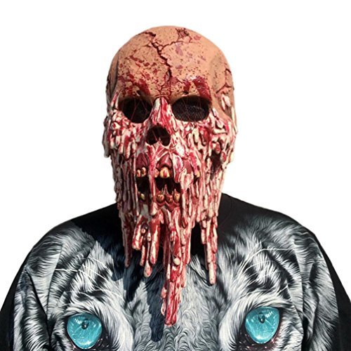 Franterd Halloween Latex Bloody Zombie Mask, Halloween Scary Latex Walking Dead Adult Costume Face Party Props ()