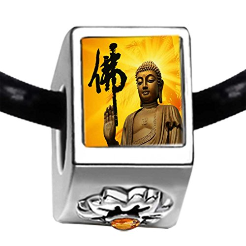 Chicforest Silver Plated Religion Holy Buddha Photo Topaz Crystal November Birthstone Flower Charm Beads Bracelets European Bracelets Compatible