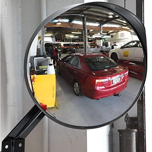 Ampper 12'' Convex Security Mirror, Adjustable Curved Acrylic Mirror for Indoor & Outdoor Safety and Security or Anywhere (Round)