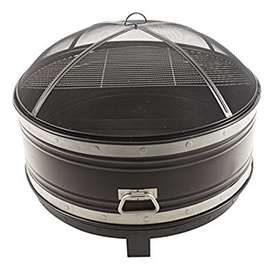 "Pleasant Hearth OFW651R Colossal Fire Pit, Black - 36"" round, 12"" deep fire bowl Includes half cooking grid for BBQ'ing The built-in Circulair system provides more air flow for bigger flames and a more consistent fire - patio, outdoor-decor, fire-pits-outdoor-fireplaces - 51ZYWppfawL. SS400  -"