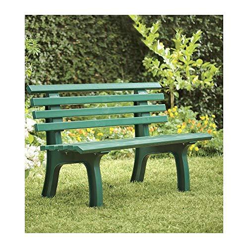 "Plow & Hearth German-Made, Green Weatherproof Resin Garden Bench – 47″ L x 21½""W x 29″ H"