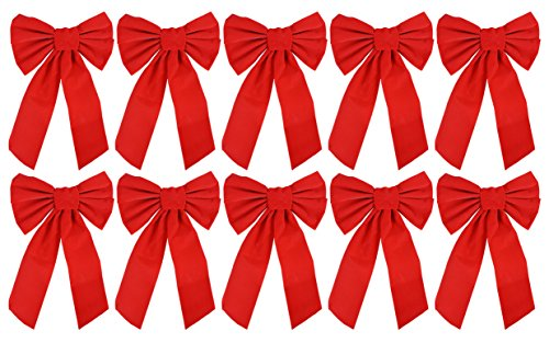 Red Bow Velvet - Red Velvet Christmas Bow 9-inch X 16-inch, 10 Pack of Holiday Bows