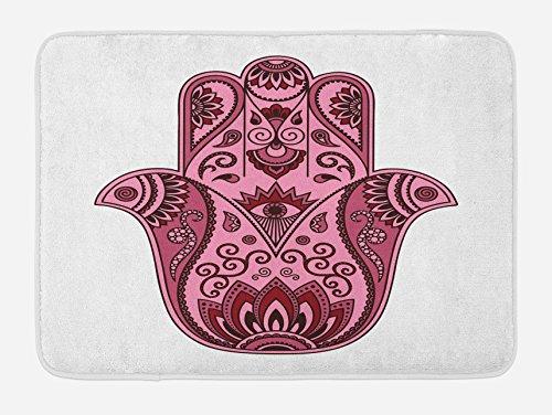 Lunarable Hamsa Bath Mat, Colored Open Hand Arabic Hamsa Ornate Folkloric Faith Symbol Cultural Eastern Bohemian, Plush Bathroom Decor Mat with Non Slip Backing, 29.5 W X 17.5 W Inches, Pink by Lunarable