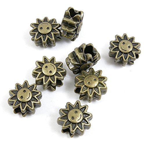 40 PCS Loose Beads Ancient Antique Bronze Fashion Jewelry Making Crafting Charms Findings Bulk for Bracelet Necklace Pendant A04770 Sun Beads