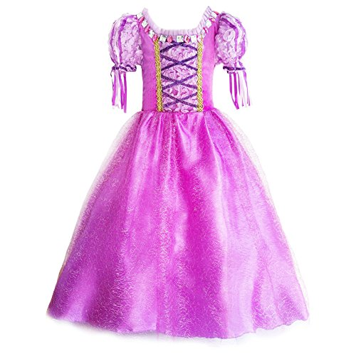 [JiaDuo Girls New Princess Party Costume Long Dress Up 110 Purple] (Rapunzel Costumes For Girl)