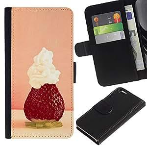 JackGot ( Frutta Macro Fragola Montato ) Apple (4.7 inches!!!) iPhone 6 / 6S la tarjeta de Crédito Slots PU Funda de cuero Monedero caso cubierta de piel