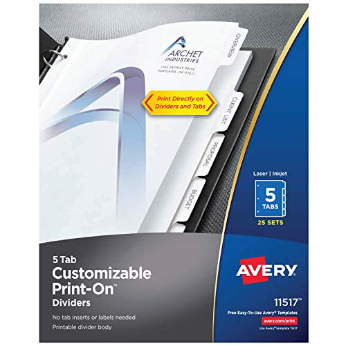 Avery 5-Tab Print-On Binder Dividers, White Tabs, 25 Sets (11517) ()