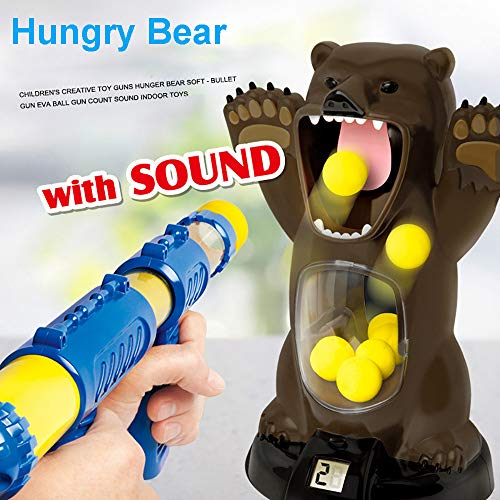 Harpi Shooting Game Toy for 8+ Years Old Kids Girls Boys Children Educational Toys Model - Scream Hungry Bear Electronic Shooting Game Party Toys with Sound (Brown)