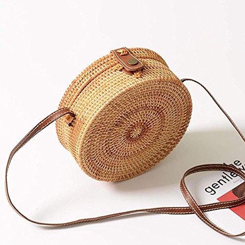 Clasp Hand Crossbody Bag Meeto Bag Strap with Rattan Vintage Interlocking Shoulder Purse Handmade Woven Sling Clasp Bag Straw Crossbody 100 amp; Leather 5wwqB60x