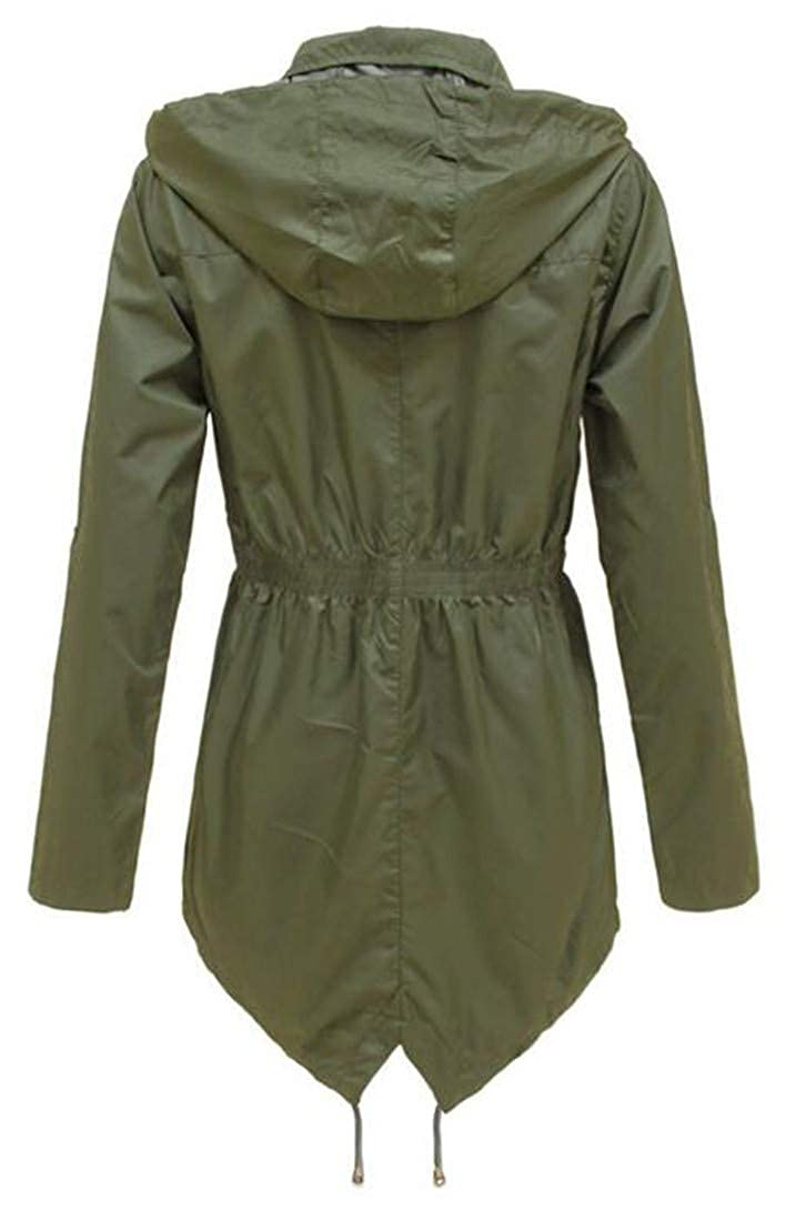 Easonp Womens Outdoor Watertight Zipper up Anorak Hooded Outwear Coat Jacket