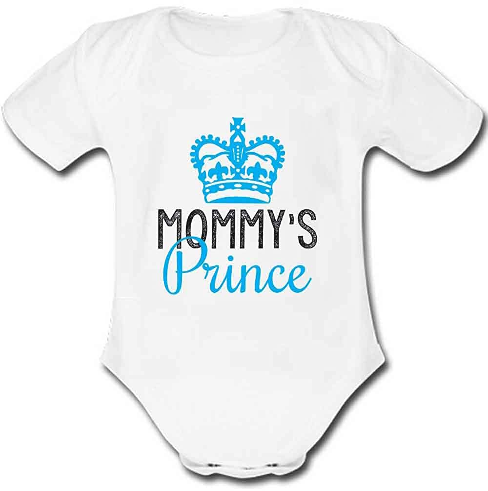 51ce532c32a5 Amazon.com  JURU Baby Suit Mommy s Prince Cotton Newborn Outfit Onesie Short  Sleeve White  Clothing