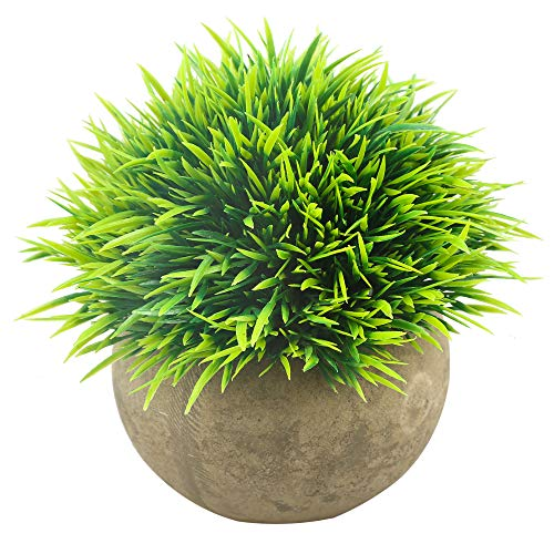 Svenee Mini Artificial Plants, Plastic Fake Green Grass Faux Greenery Topiary Shrubs with Grey Pots for Bathroom Home…