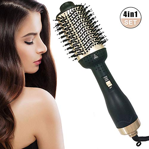 itkidboy Hair Dryer Brush One-Step Hair Dryer Premium Hot Air Brush With Negative Ion Generator 4 in 1 Hot Air Brush with Fast Drying black gold