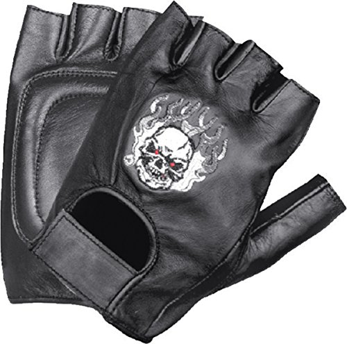 Skull Motorcycle Glove (Ted and Jack - Skulls of Gloryl Embroidered Fingerless Leather Motorcycle Glove Size XL)