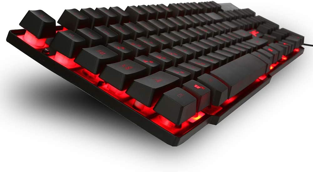 English + Russian 104-Key Mechanical Hand Keyboard Three-Color Backlit Computer Keyboard USB Cable for Windows PC Game Players DFCHT Mechanical Keyboard