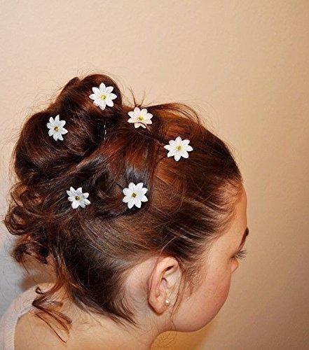 6 Curlies Haarnadeln Gänseblümchen Margeriten Dirndl Oktoberfest Kommunion