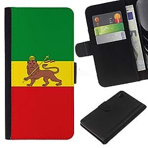 """JackGot ( Rasta Bandera Majestic"""" ) Sony Xperia Z4v / Sony Xperia Z4 / E6508 la tarjeta de Crédito Slots PU Funda de cuero Monedero caso cubierta de piel"""