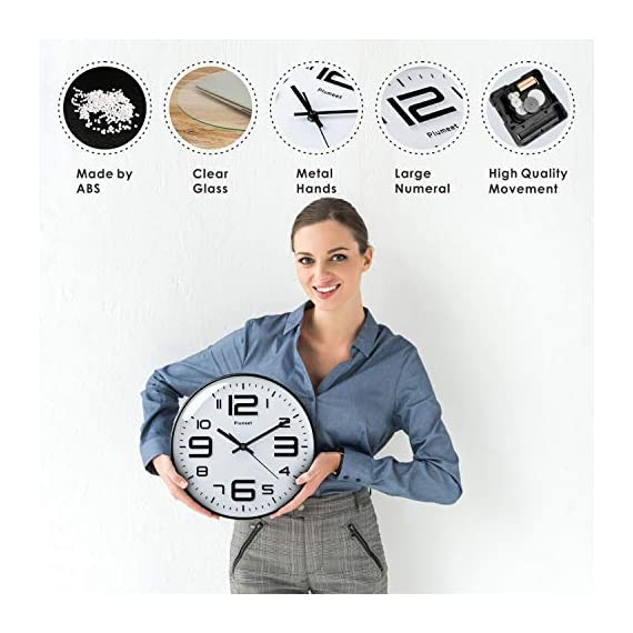 """Plumeet Silent Wall Clocks - 12"""" Non-Ticking Quartz Large Decorative Clocks - Big 3D Number Good for Living Room Home Office Battery Operated (White) - Wall Clock for Bedroom -- Large black numbers bulged out over white dial face, super quiet, easily to see and read 12'' diameter round frame. Eye Catching Numeric -- Four extra large 3D numbers makes it easier to read from any corner of your room. Super Silent -- Precise quartz movements to guarantee accurate time, quiet sweep second hand ensure a good sleeping and work environment. - wall-clocks, living-room-decor, living-room - 51ZYZ%2B 5tQL. SS570  -"""