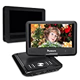 NAVISKAUTO 9 Inch Portable DVD/CD Player USB/SD Card Reader with 5 Hour Built-In Rechargeable Battery, 270° Swivel Screen, 3m AC/DC Adapter and Customized Car Headrest Mount Case (Black)
