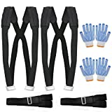 Moving Straps, Moving and Lifting Straps Easily Move, Lift, Carry, And Secure Furniture, Appliances, Heavy Objects Without Back Pain include Soft Cushion & 4 Gloves Carry Bag Max Load 440 (Large)