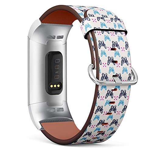 Compatible with Fitbit Charge 3 / Charge 3 SE - Leather Watch Wrist Band Strap Bracelet with Stainless Steel Clasp and Adapters (French Bulldog)