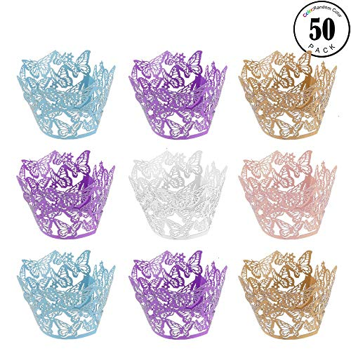 (Feeko Cupcake Liner, 50pcs Butterfly Openwork Filigree Wedding Cake Lining Packaging Baking Cake Cup Packaging for Birthday Party Decoration 5)