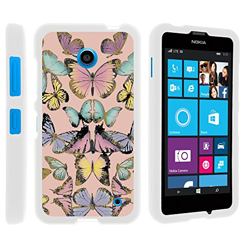 Nokia 635 Phone Case, Hard Shield Phone Case Hard Jacket with Unique Designs for Nokia Lumia 635 (AT&T, Sprint, T Mobile, Virgin Mobile, Boost Mobile, MetroPCS) from MINITURTLE | Includes Clear Screen Protector and Stylus Pen - Butterfly (Nokia Stylus)