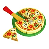Viga Wooden Cutting Pizza Party with different Toppings #58500 by Viga