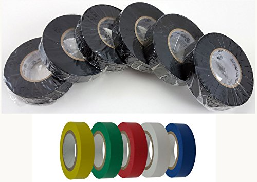 Cambridge Electrical Tape. MEGA PACK, 6 Rolls Black 3/4 Inch By 66 Feet Per Roll Plus 5 Rolls Assorted Colors 1/2 Inch By 20 Feet Per Roll, Professional Grade by Cambridge (Image #1)