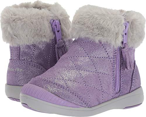 Stride Rite Girls Chloe Sparkle Suede Bootie Fashion Boot, Purple, 6 W US Toddler