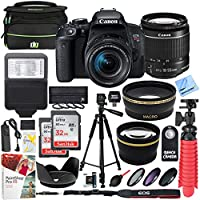 Canon T7i EOS Rebel DSLR Camera with EF-S 18-55mm is STM Lens and Two (2) 32GB SDHC Memory Cards Plus 58mm Wide Angle & Telephoto Lens Tripod Cleaning Kit Accessory Bundle