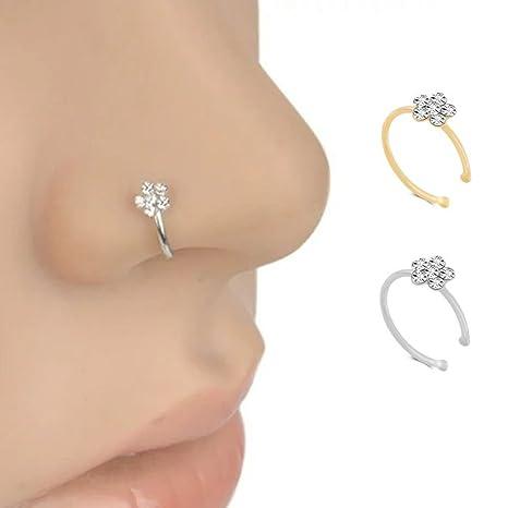 9c01d52f6a60 Romote anillo de nariz de acero quirúrgico de flores Lover joyería de las mujeres  de la