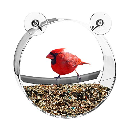 Feeder Bird Colors - mage2pnper Bird Food Feeding, Transparent Round Bird Feeder Food Container Suction Cup Outdoor Feeding Tool - Transparent Color