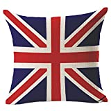 union jack cushion - Vintage UK GB Union Jack Flag - Square Burlap Light Linen Design Throw Pillow Case Shell Cushion Covers With Zipper 18 x 18 Inch Home Car Decor - for Living Dining Room, Couch, Sofa