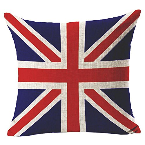 Vintage UK GB Union Jack Flag - Square Burlap Light Linen Design Throw Pillow Case Shell Cushion Covers With Zipper 18 x 18 Inch Home Car Decor - for Living Dining Room, Couch, Sofa
