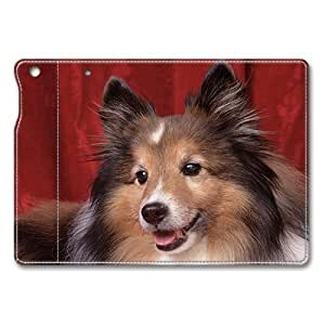 iPad Air Flip Folio Case,Cute Collie Puppy Premium Leather Folio Stand Flip Cover Case for iPad Air, Original Design And Made By PhilipHayes
