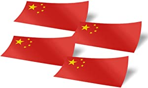 China 4 Pack of 4 Inch Wide Country Flag Stickers Decal for Window Laptop Computer Vinyl Car Bumper Chinese 4