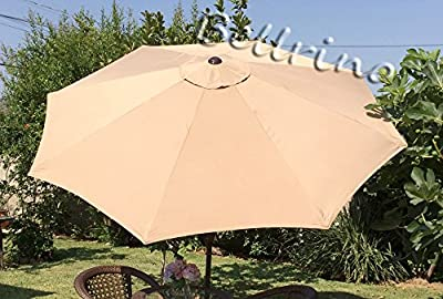 """BELLRINO DECOR Replacement SAND / TAN """" STRONG & THICK """" Umbrella Canopy for 10ft 8 Ribs (Canopy Only)"""