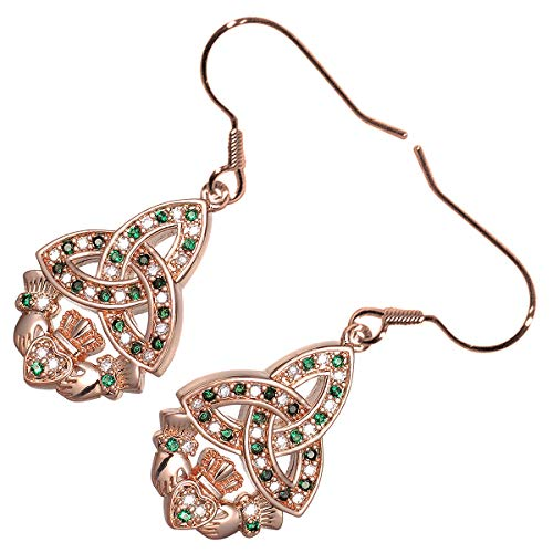 GWG 18K Rose Gold Plated Celtic Trinity Knot Paved with Emerald Green Zircon Stones Unique Claddagh Earrings for ()