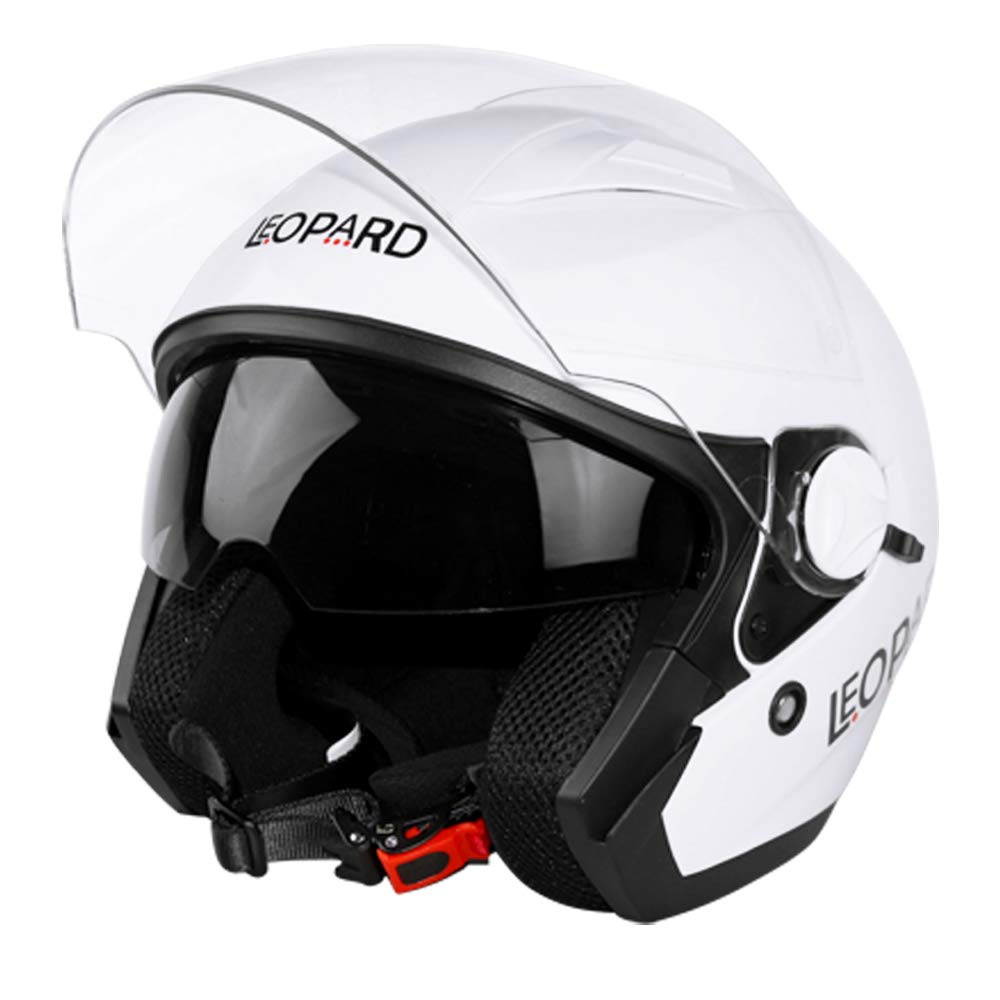 57-58cm Extra Outer Smoke Visor Leopard LEO-608 Open Face Motorbike Motorcycle Helmet Double Sun Visor White M