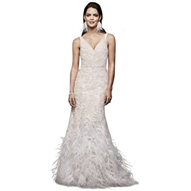 Mermaid Style Wedding Dress.Lace Mermaid Wedding Dress With Feather Skirt Style Swg800 At Amazon